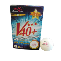 Double Fish Team World Cup Ball (40+ 3 star White 6pcs Box) . TABLE TENNIS BALLS