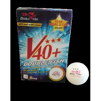 Double Fish Team World Cup Ball (40+ 3 star White 6pcs Box) . TABLE TENNIS BALLS